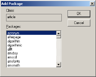 Add Package dialog