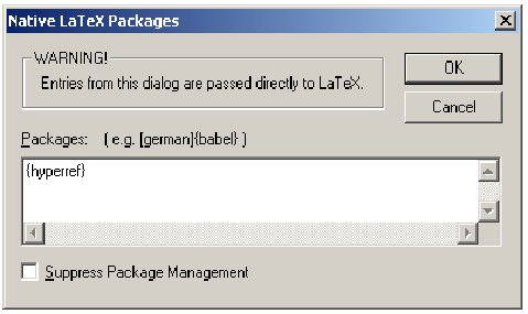 Native LaTeX Packages dialog