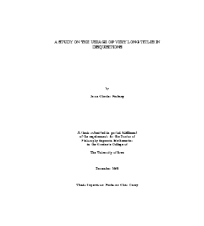 Title page: University of Iowa Thesis style